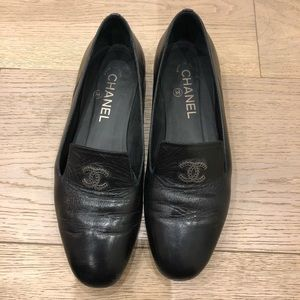 Chanel leather loafer flats worn size 37.5